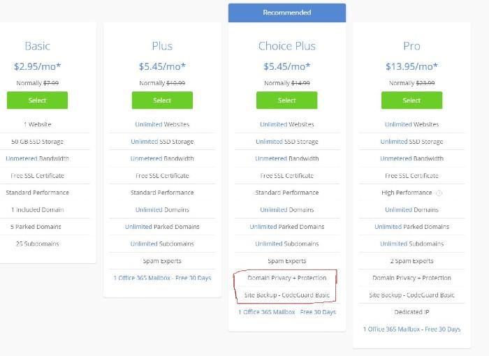 Choose Bluehost Hosting Plan