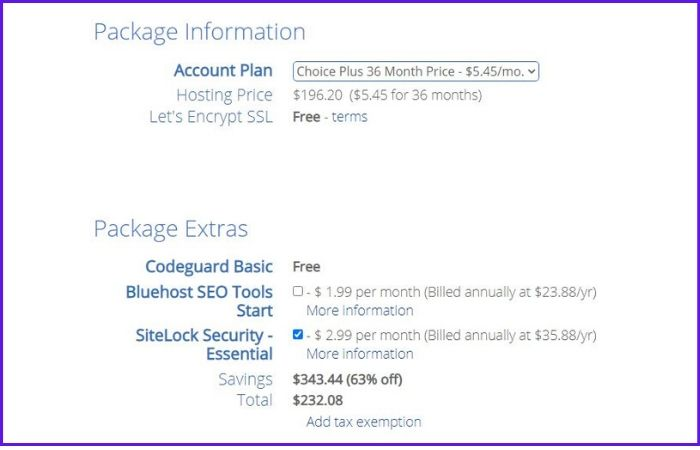 how-to-start-a-blog-bluehost-package-information