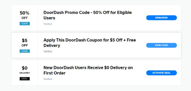 promo codes for DOORDASH