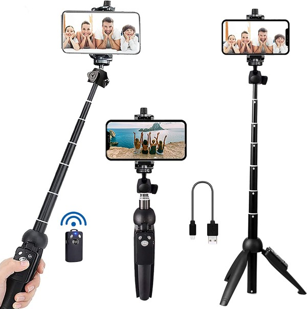 Selfie Stick Phone Tripod with Wireless Remote Shutter Compatible with iPhone