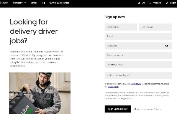 UberEats Sign up, Driving, and Vehicle Requirements