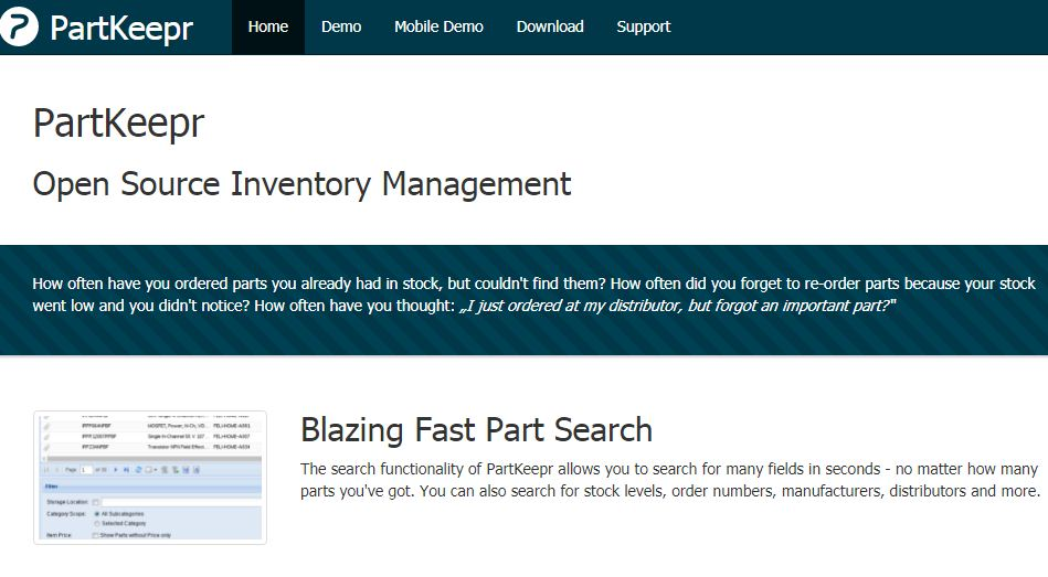 Part keepr is the best free open source Inventory Management Software